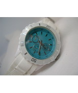 "L59, Geneva Platinum, Ladies Watch, 9"" White Silicon Band w/b - $15.99"