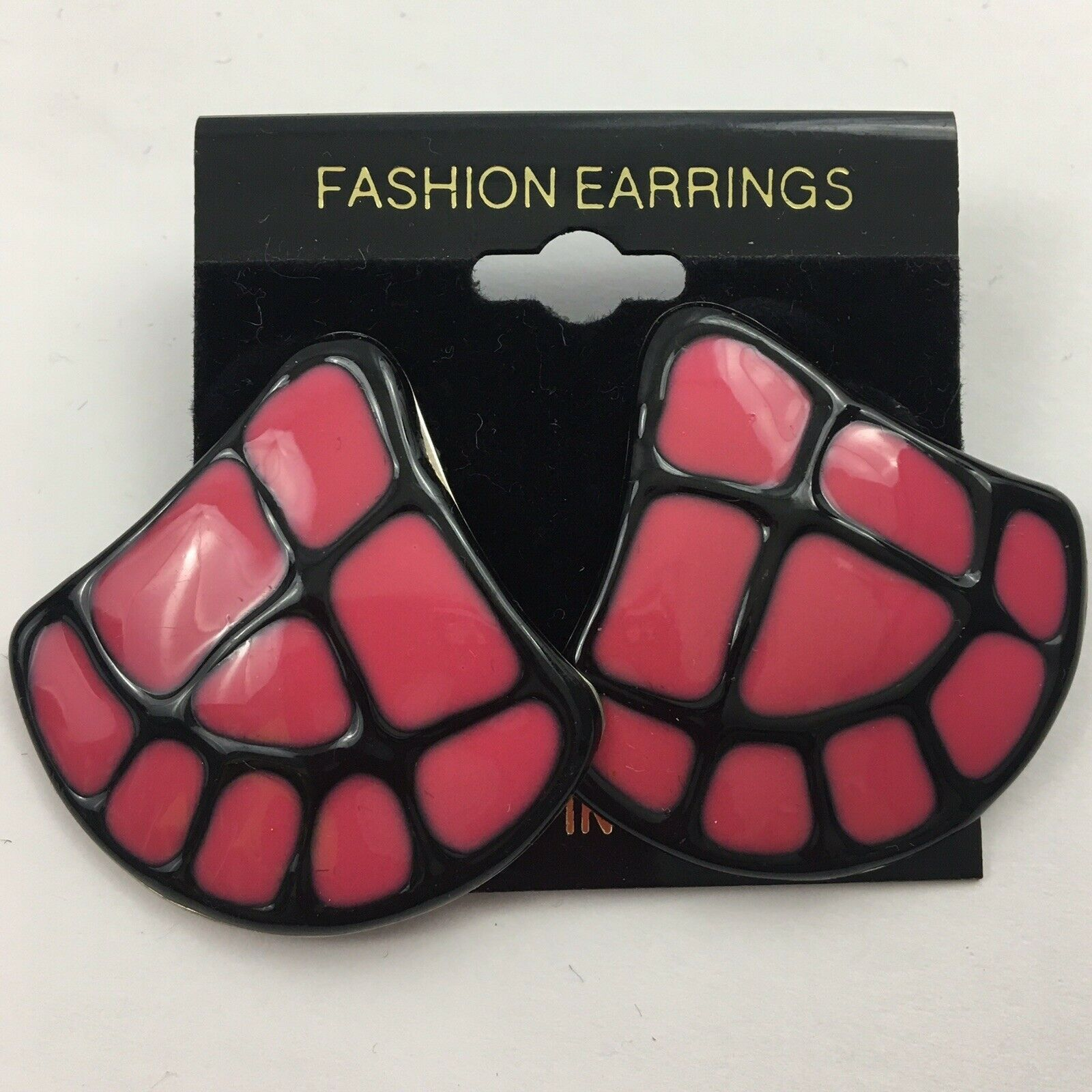 Primary image for Vintage Large Paw Print Footprint Earrings Unusual Tribal Style Unique Big Pink
