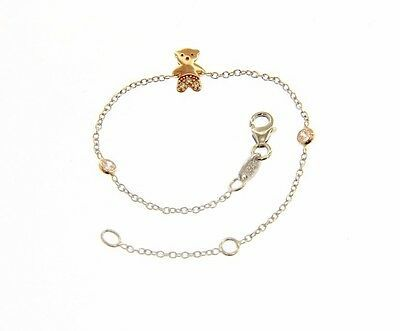 18K WHITE AND ROSE GOLD BRACELET FOR KIDS WITH ROSE BEAR MADE IN ITALY 5.5 IN