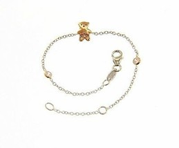 18K WHITE AND ROSE GOLD BRACELET FOR KIDS WITH ROSE BEAR MADE IN ITALY 5.5 IN image 1