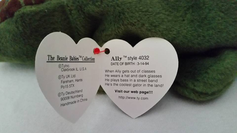 TY Beanie Babies Ally Aligator PVC PELLETS Style # RARE ERRORS Retired