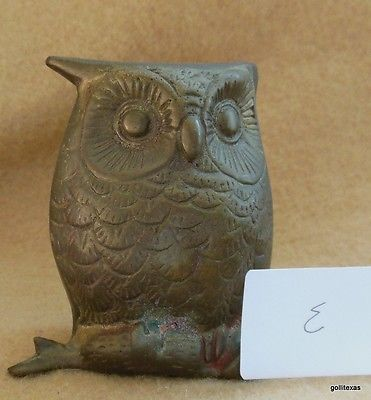 "Vintage Mid Century Owl on Branch Brass India 2.75"" E"