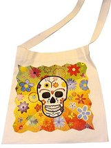 Silk Screened Canvas Silk Screened Sugar Skulls Day of the Dead Tote Bag... - $9.85