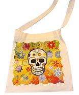 Silk Screened Canvas Silk Screened Sugar Skulls Day of the Dead Tote Bag... - $9.85