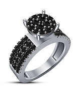 Round Cut Black CZ 10k White Gold Plated 925 Silver Solitaire With Accen... - $81.99
