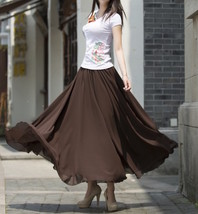 Women Chiffon Maxi Skirt Black White Brown Maxi Skirts Wedding Chiffon Skirt image 6