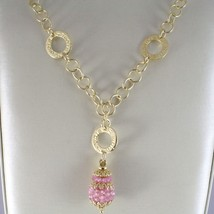 925 STERLING SILVER NECKLACE WITH ROSE QUARTZ FINELY WORKED DROP PENDANT, ITALY image 2
