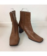 Nine & Co Womens Sz 10 Ankle Leather Boots Side Zip Camel Brown Block He... - $32.73