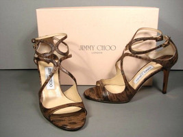 JIMMY CHOO IVETTE TAUPE LIZARD PRINT STRAPPY SANDALS HEELS CLASSIC 36.5/... - $363.95