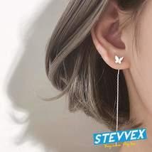 New Elegant Luxury Long Tassel Butterfly Silver Drop Earrings For Women In Summe - $14.99