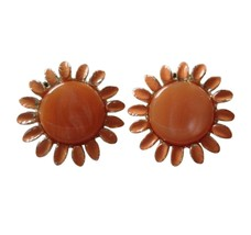 Vintage Retro Floral Flowers Large Gold Toned Sunflowers Clip On Earring... - $17.81