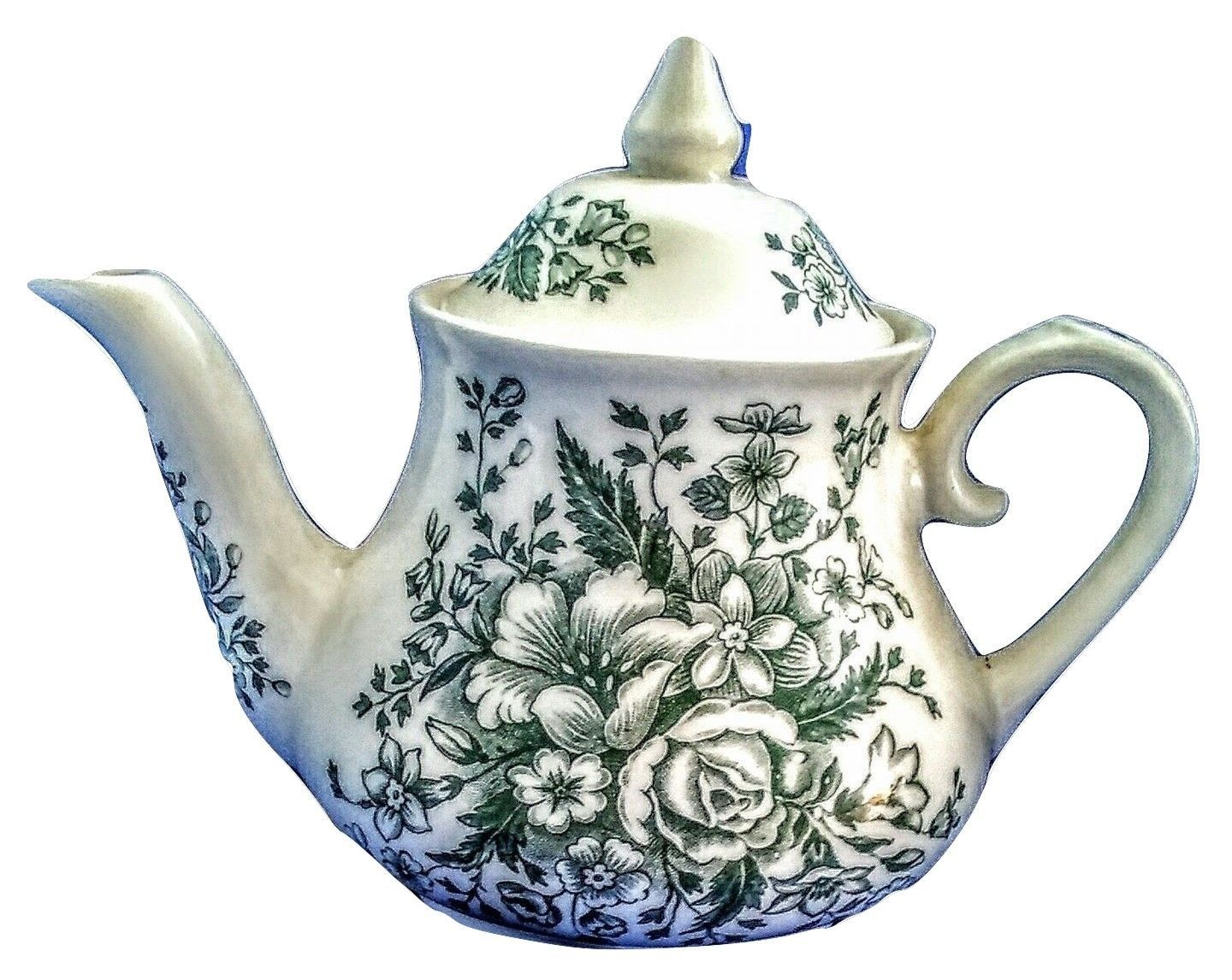 Made in england ironstone green flowers tea pot new Green tea pot set
