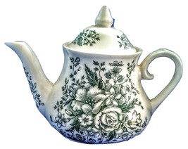 MADE IN ENGLAND IRONSTONE GREEN FLOWERS TEA POT NEW - $74.79