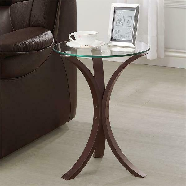Accent Snack Sofa End Chair Side Table Stand Round Glass Top in Cappuccino Wood - $112.40