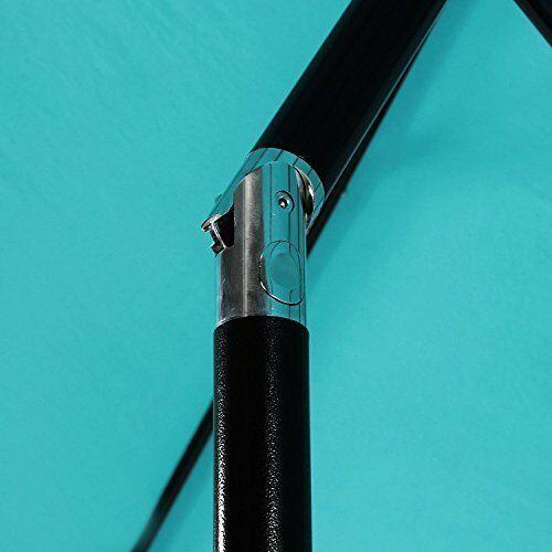 Patio Umbrella: 9 ft Aluminum Push Button Tilt Crank Blue 100% Polyester image 4