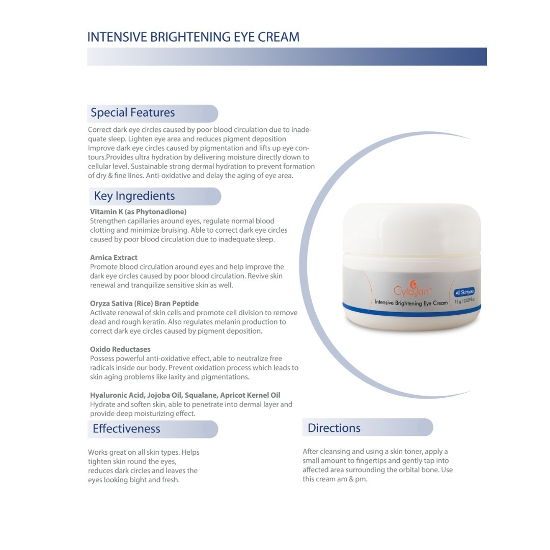 CytoSkin Intensive Brightening Eye Cream, 15g + Free Sample