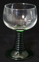 "Luminarc France Wine Glass Roemer Green Stem Ribbed Coil Beehive 4.5"" - $11.83"