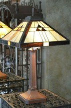 Vintage  Dale Tiffany Mission Art Stained Glass Lamp -  2 Lights - $219.60