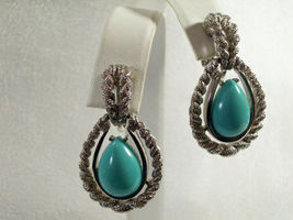 AVON Faux TURQUOISE Tear Drop Clip Earrings FROSTY SILVER Plated ROPE Vintage image 3