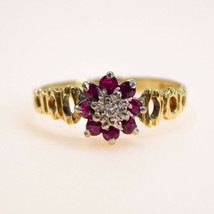 18k Vintage Ruby Ring Flower Cluster for Women yellow gold Size P BHS - $542.63