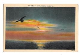 Ocean at Dawn Seagulls Virginia Beach VA Vintage Linen 1938 Postcard - $4.99