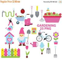 Gardening clipart, garden, clipart, gnome, spring, flowers, grass, pink,... - $2.52