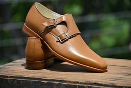 Handmade Men's Tan Leather Double Monk Strap Strap Dress/Formal Shoes image 4