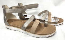 Ugg Zina Australia Leather Sandal Black Cork Strappy Grey Gold Metallic 1012342 - $69.99
