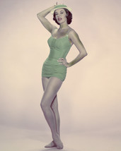 Cyd Charisse Posing In Vintage Rose Marie Reid Bathing Swimsuit 16X20 Canvas Gic - $69.99