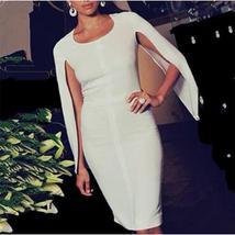 Celebrity Party White Batwing Sleeve Bandage Dress image 4
