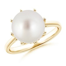 South Sea Cultured Pearl Solitaire Crown Ring Silver/ 14K Gold Size 3-13 - $282.01+