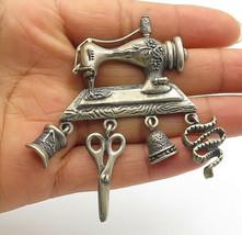 925 Sterling Silver - Vintage Sewing Machine Charmed Brooch Pin - BP4081 - $83.38