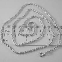 18K White Gold Chain Necklace Braid Rope Link 17.72 Inches, 2.5 Mm Made In Italy - $279.30