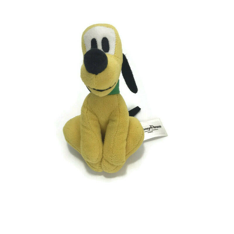"Disney Pluto Dog Plush Stuffed Toy Green Collar 5"" Play Soft Pet Toy Gift"