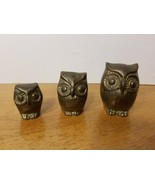 VINTAGE BRASS OWL FAMILY FIGURINES PAPERWEIGHTS - $23.33