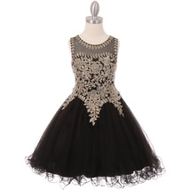 Black Fabulous Gold Trimmed Corset Back Closure Wired Tulle Skirt Girl D... - $88.99+