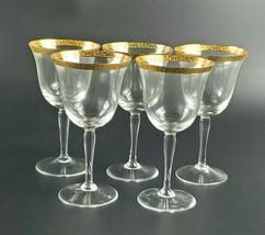 Vintage Mid-Century Floral Pattern Gold Rimmed Wine/Water Glasses - Set ... - $50.00