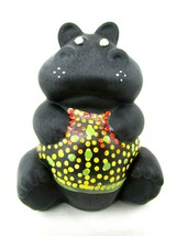 FENTON HIPPO BLACK SATIN Limited Edition #84/150 Signed J. Powell Excell... - $74.25