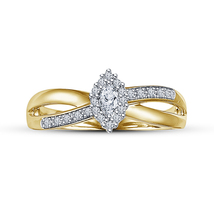 Criss Cross Engagement Ring Yellow Gold Plated 925 Silver Marquise Cut D... - $73.21