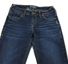 Silver Aiko Mid Straight Stretch Low Rise Distressed Blue Jeans Women's ... - $19.67