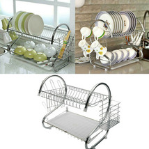 2 Tier Dish Drying Rack Drainer Stainless Steel Kitchen Cutlery Holder S... - $36.21