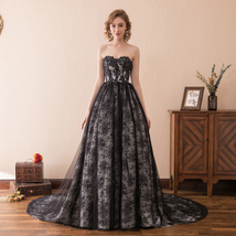 Women's Sweetheart Strapless Lace Applique Evening Dresses Long Black Ball Gowns - $138.99