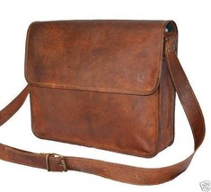 "15"" 100% Pure Leather Brown Office Shoulder Laptop Office  Unisex Bag. - $60.00"