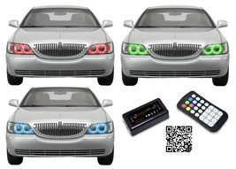for Lincoln Town Car 05-11 RGB Multi Color Bluetooth LED Halo kit for He... - $165.13