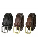 """Woven Genuine Braided Leather Belt 1-1/4"""" (32mm) Wide Black Brown Tan - $21.95"""