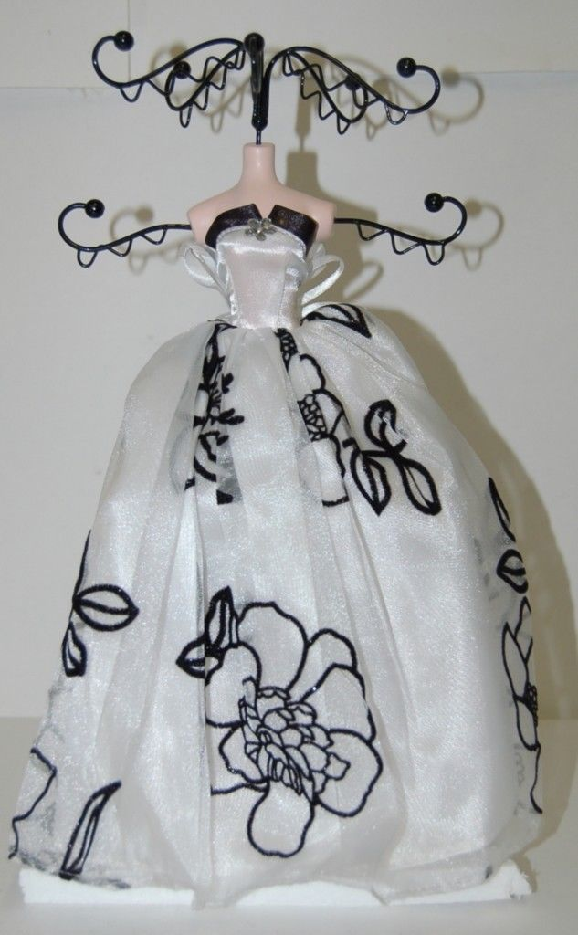 White Dress Black Velvet Flowers 051783 910 Jewelry Holder 12 Inches