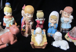 Ceramic nativity set 11 figures Christmas decoration - $35.53