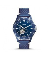 BRAND NEW FOSSIL ME3149 CREWMASTER SPORTS BLUE LEATHER/BLUE DIAL MEN'S W... - $143.54