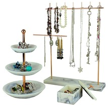 Set of 3 Rose Gold Jewelry Tower Tier Tray Stand - 3-Tier Jewelry Dish, ... - $56.91