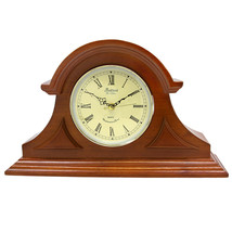 Bedford Clock Collection Mahogany Cherry Mantel Clock with Chimes - $85.36